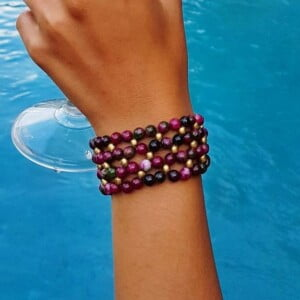 Agate Boho Bracelet Brass Pink Green