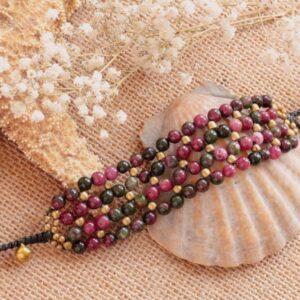 Edelstein Armband Achat Pink Grün Bunte Edelsteine Perlen Armband