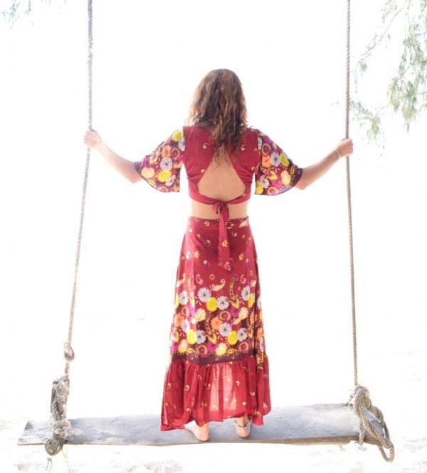 Boho Gypsy Zweiteiler Set Rock Top Rückenfrei
