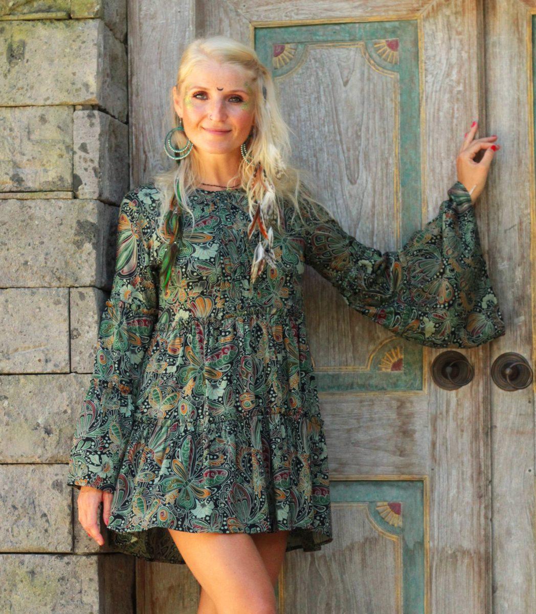 Hippie Tunika Kleid Vintage Sommer Ibiza Style Schlag-Ärmel Weltentänzer Berlin