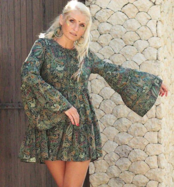 Tunika Hippie Kleid Trompetenärmel Weltentänzer Berlin