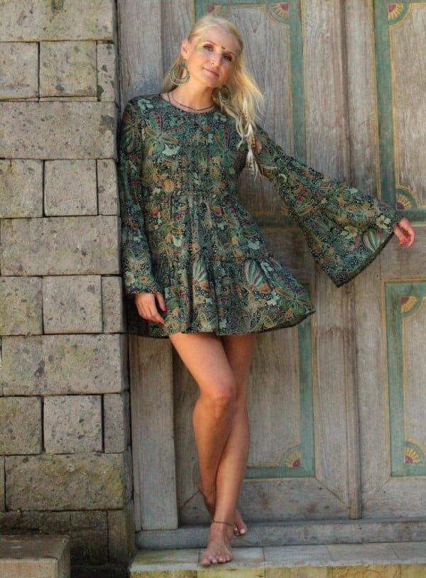 Vintage Ibiza Style Kleid Tunika Weltentänzer Berlin Dunkelgrün