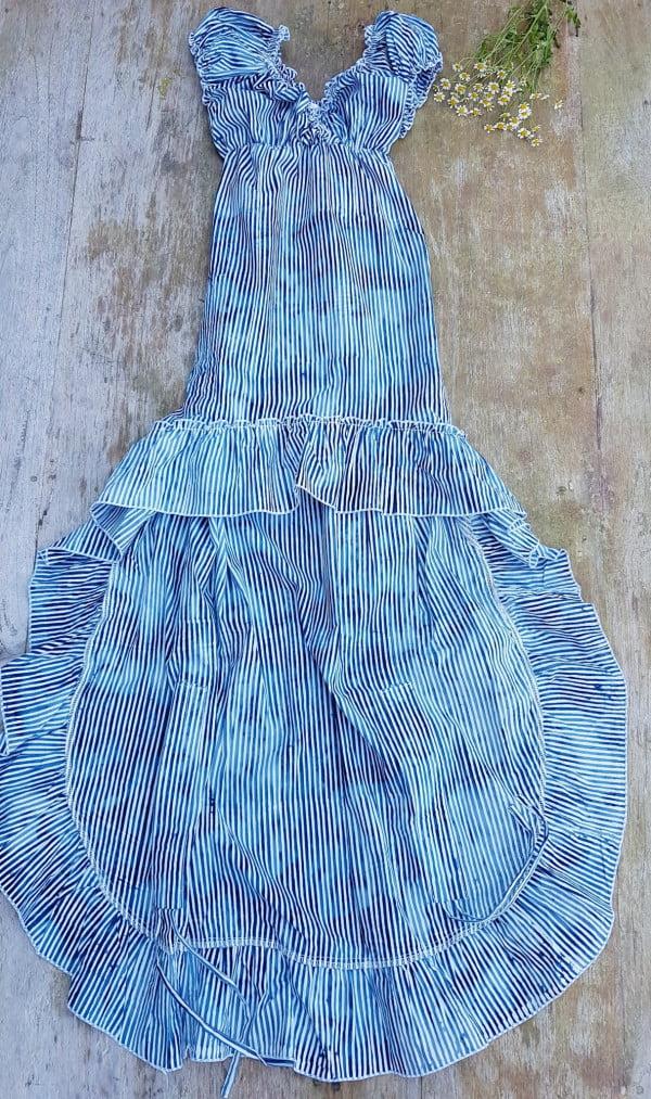 Marine Kleid Kleid Blau Weiß Gestreift