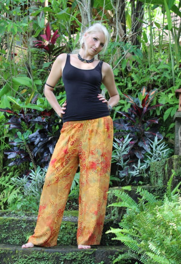 Yogahose Orange bATIKHOSE Hippiehose