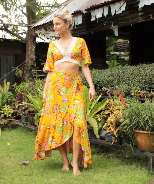 Gypsy Siter Set Crop Top Wrap Skirt Flower