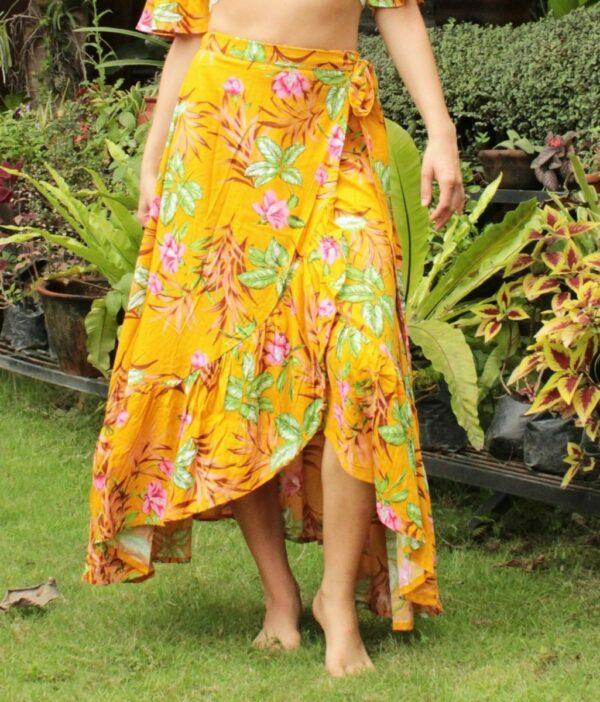 Gypsy Siter Wrap Skirt Flower Yellow