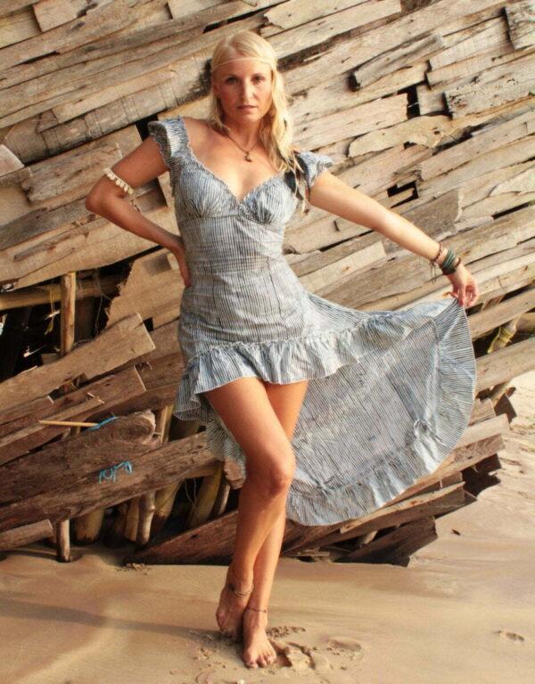 Hippie & Boho Saloon Kleid gestreift blau weiß
