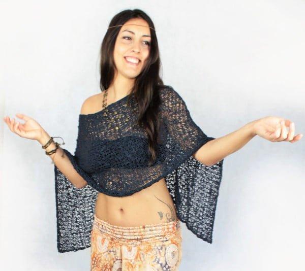 Hippie Poncho Dunkelblau