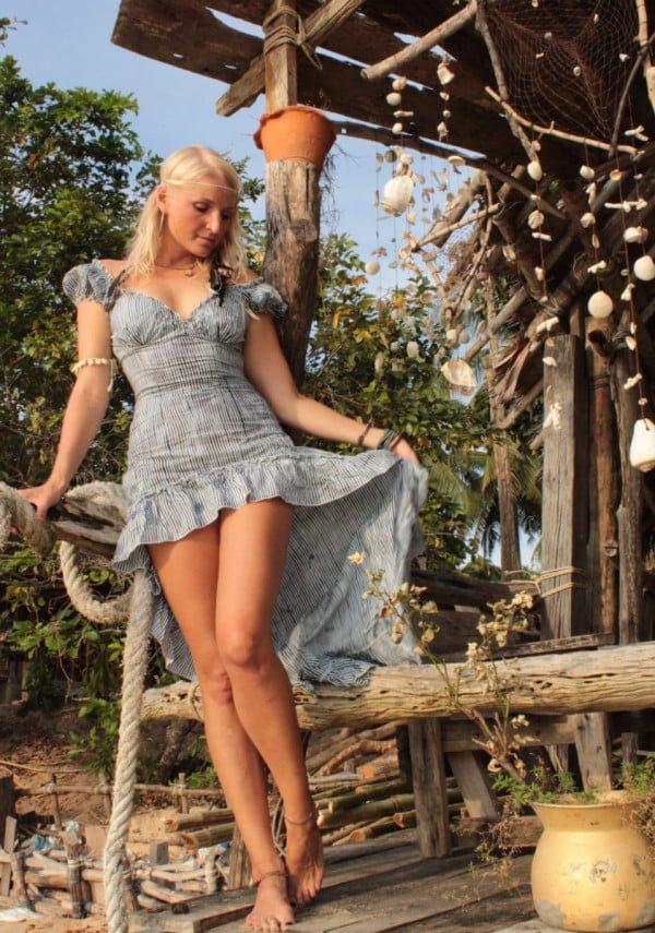 Saloon Kleid blau weiß gestreift