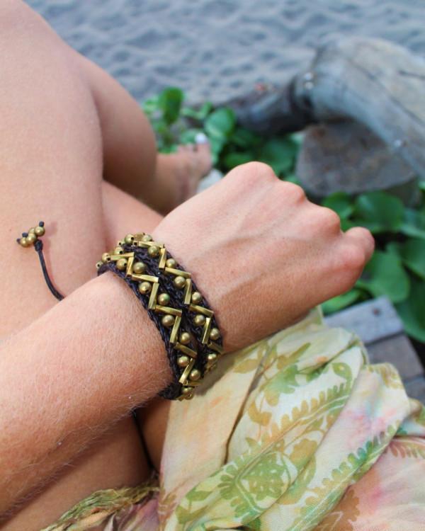 Armband Makramee Messing Braun Brass Macrame Gold