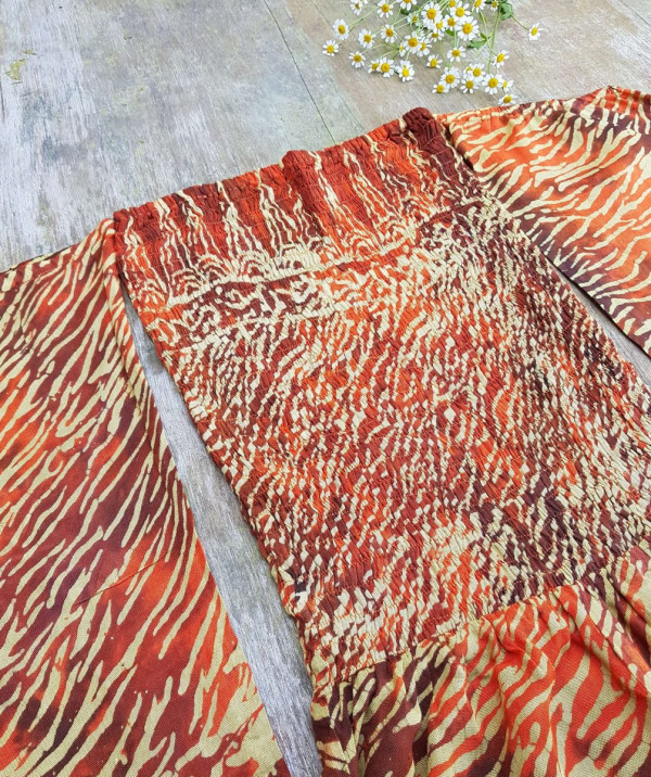 Batik Sommer Jumpsuit Rot Orange