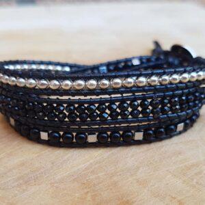 Boho Chic Wickelarmband elegant Kristallperlen-Armband Schwarz