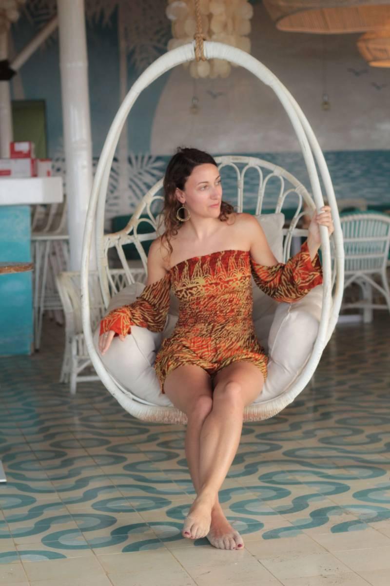 Boho Damen Jumpsuit Rot Orange Batik Animal Zebra Print Bohemian Sommer Style Onesie Einteiler