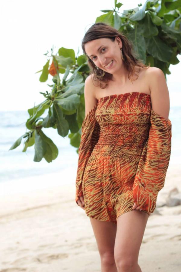 Boho Damen Jumpsuit Rot Orange Batik Animal Zebra Print Festival Sommer Style Look Outfit Hipster