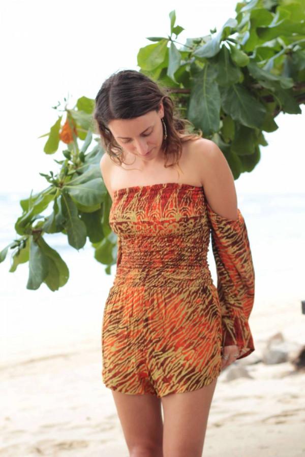 Boho Damen Jumpsuit Rot Orange Batik Animal Zebra Print Ibiza Strand Look