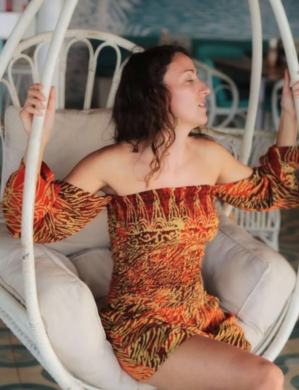 Boho Damen Jumpsuit Rot Orange Batik Animal Zebra Print Ibiza Style