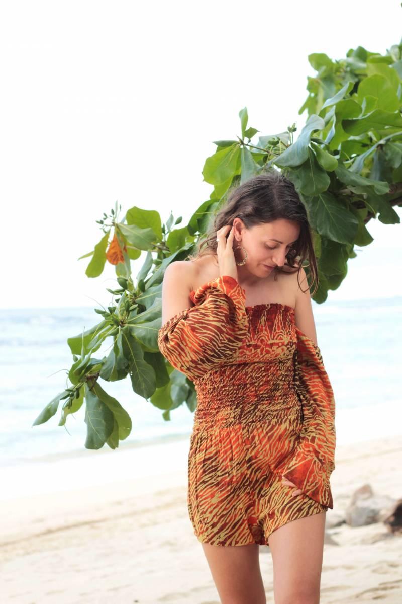 Boho Damen Jumpsuit Rot Orange Batik Animal Zebra Print Schulterfrei Strand Look
