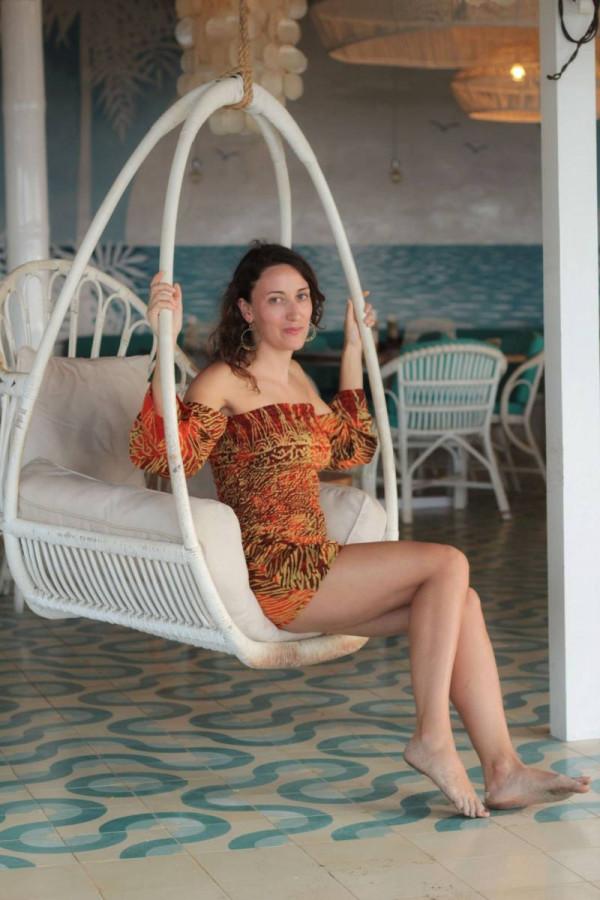 Boho Damen Jumpsuit Rot Orange Batik Animal Zebra Print Sommer Style
