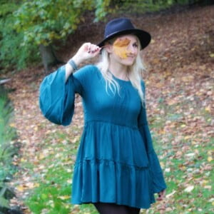Boho Hippie Fall Autumn Style Mini Dress Trumpet Sleeves Turquoise