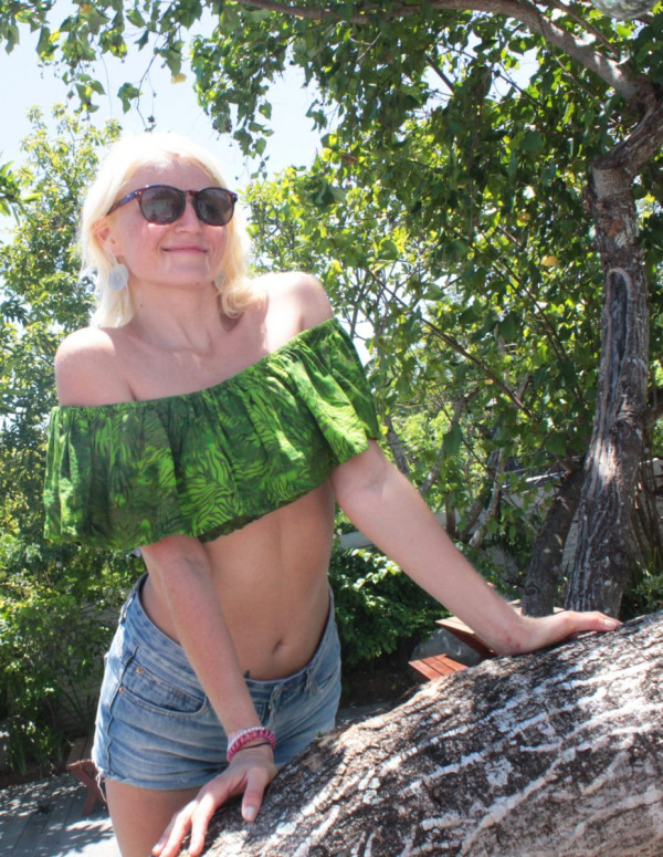 Boho Hippie Batik Top Schulterfrei bauchfrei Festival Kleidung
