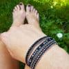 Boho Wrap Bracelet Black Silver Shiney Sparkling