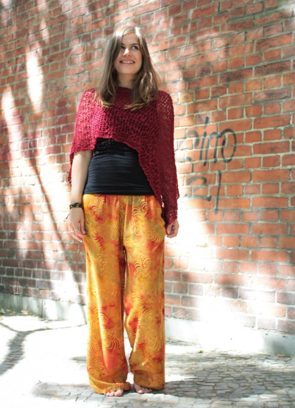 Hippie Boho Tie Dye Pants Orange Red