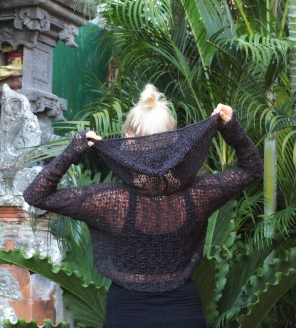Hippie Crop Hoodie Underboob Shirt Schwarz Goa Style Pullover mit Kapuze (2)