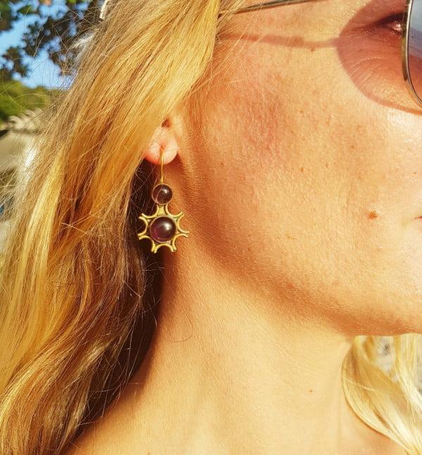 Boho brass earrings brass and amethyst