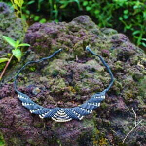 Macrame Collar Necklace Black Silver