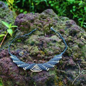Macrame Collar Necklace Black Silver
