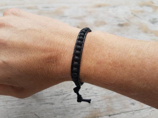 Boho macrame bracelet with volcanic stone