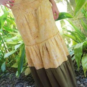 Baumwoll Hippie Batik Rock gelb