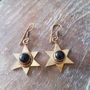 Boho Stern Ohrringe aus Messing und Onyx