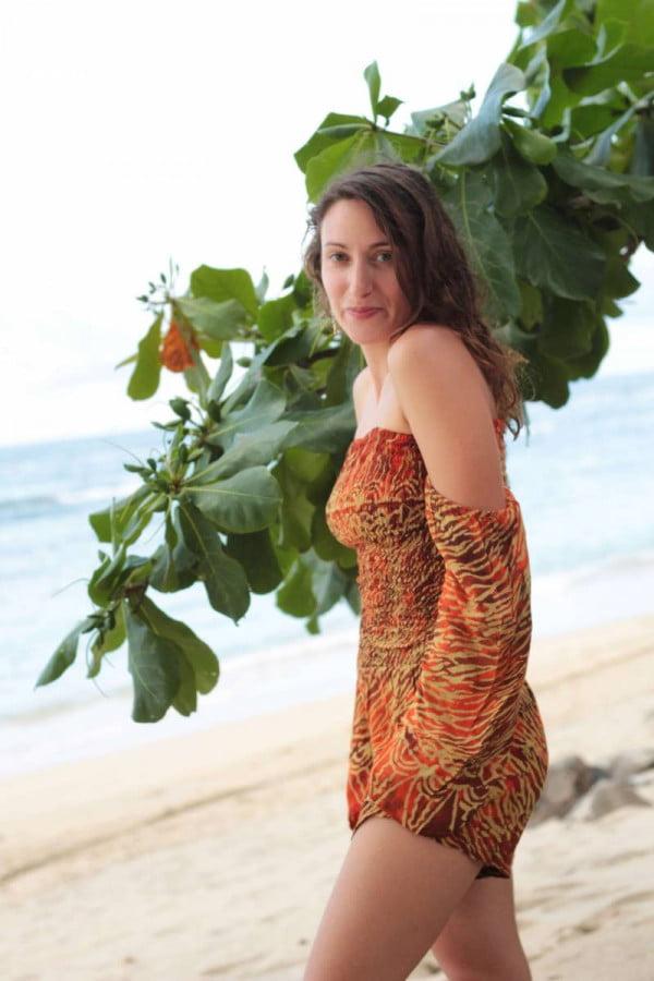 Boho Playsuit Damen Strand Outfit im Ibiza Style Batik
