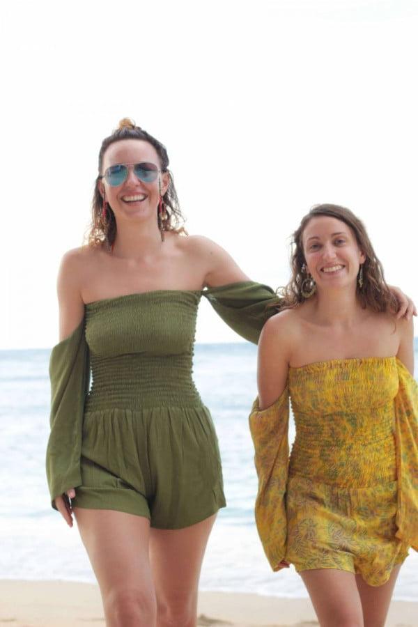 Boho Style Strand Playsuit Damen Jumpsuits Kurz Olivgrün