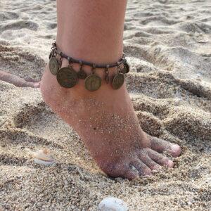 Coints Anklet Brown Boho Gypsy Anklet