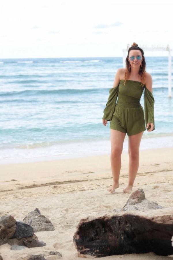 Damen Jumpsuit Olive Grün Hippie Style Bohemian Look