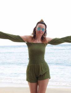 Damen Jumpsuit Olive Grün Ibiza Strand Style Strand Mode