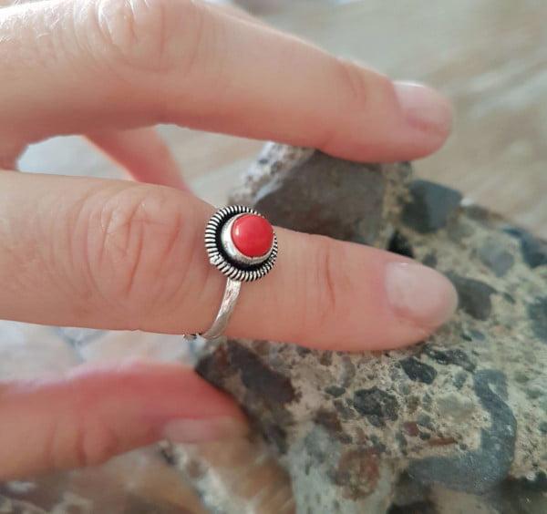 Hippie Halbfingerring Echtstein Kleiner Feiner Ring