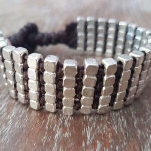 Hippie Makramee Rocailles Armband Alpava Silber