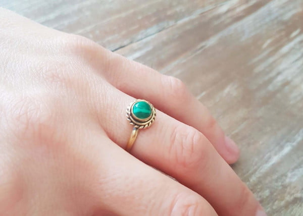 Hippie Ring Malachit Boho Hippie
