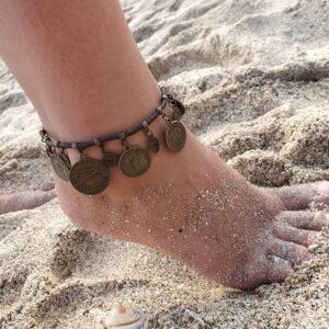 Makramee Gypsy Fusskette Münzen Fusskette