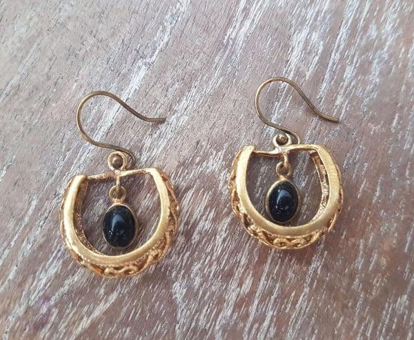 Orientalische Boho Brass Ohrringe Onyx