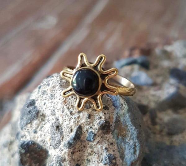 Messing Ring Onyx Zehenring Fingerspitzenring