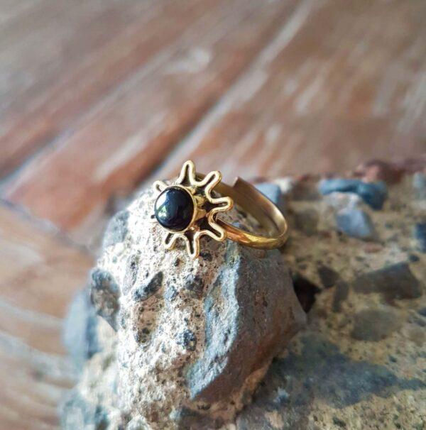 Messing Ring Onyx Zehenring Fingerspitzenring Onyx