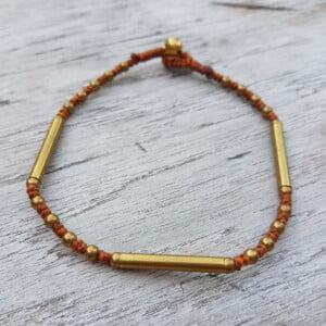 Hippie Makramee Sommer Fusskette Messing antik gold braun