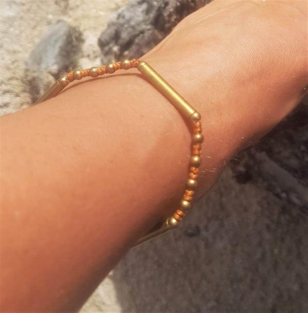 Brass macrame anklet Gold brown