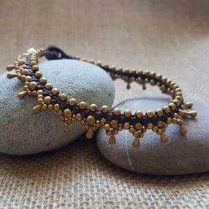 Boho Fusskettchen Messing Gold Makramee-2