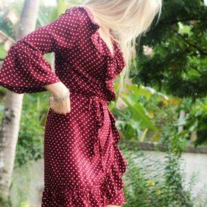 Boho Wickelkleid gepunktet Pünktchen Kleid mit Wickeloptik Bordaux