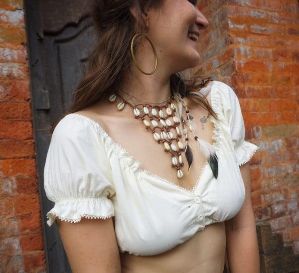 Sommer Baumwol Fesitival Gypsy Hippie Off Shoulder Crop Top Beige Wollweiß